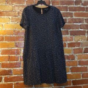 Sézane x Madewell maroon and blue polka dot dress
